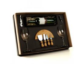 Kit Queijo e Vinho com Garrafa - 9 Pçs