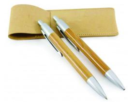 kit lapiseira e caneta bambu